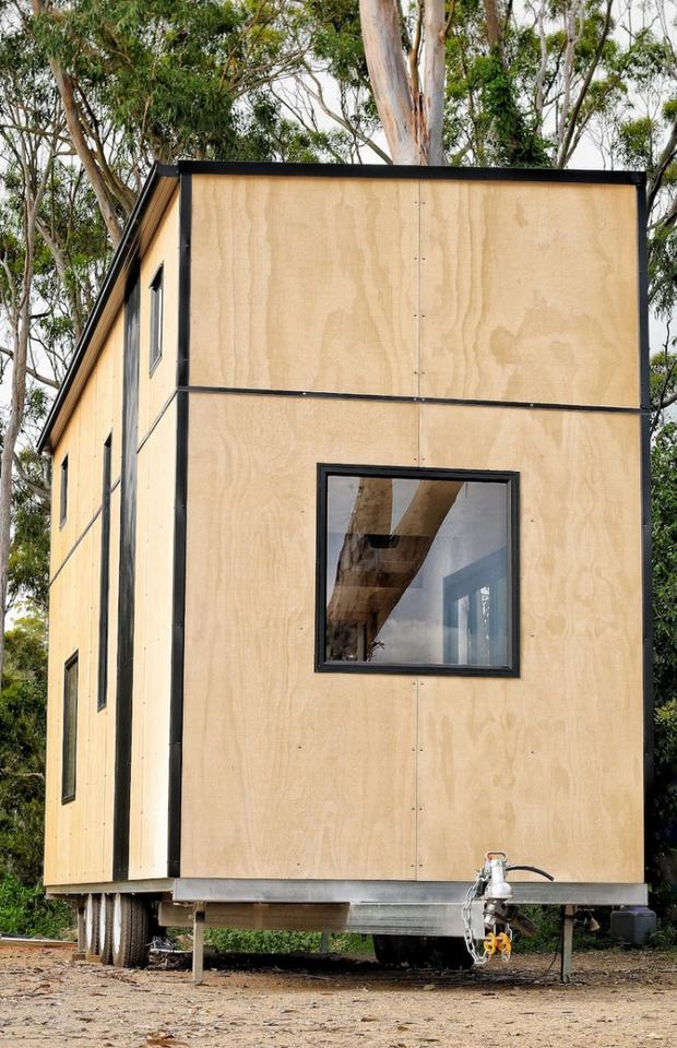 The Sowelo tiny house is built with certified FSC rough sawn ply wood