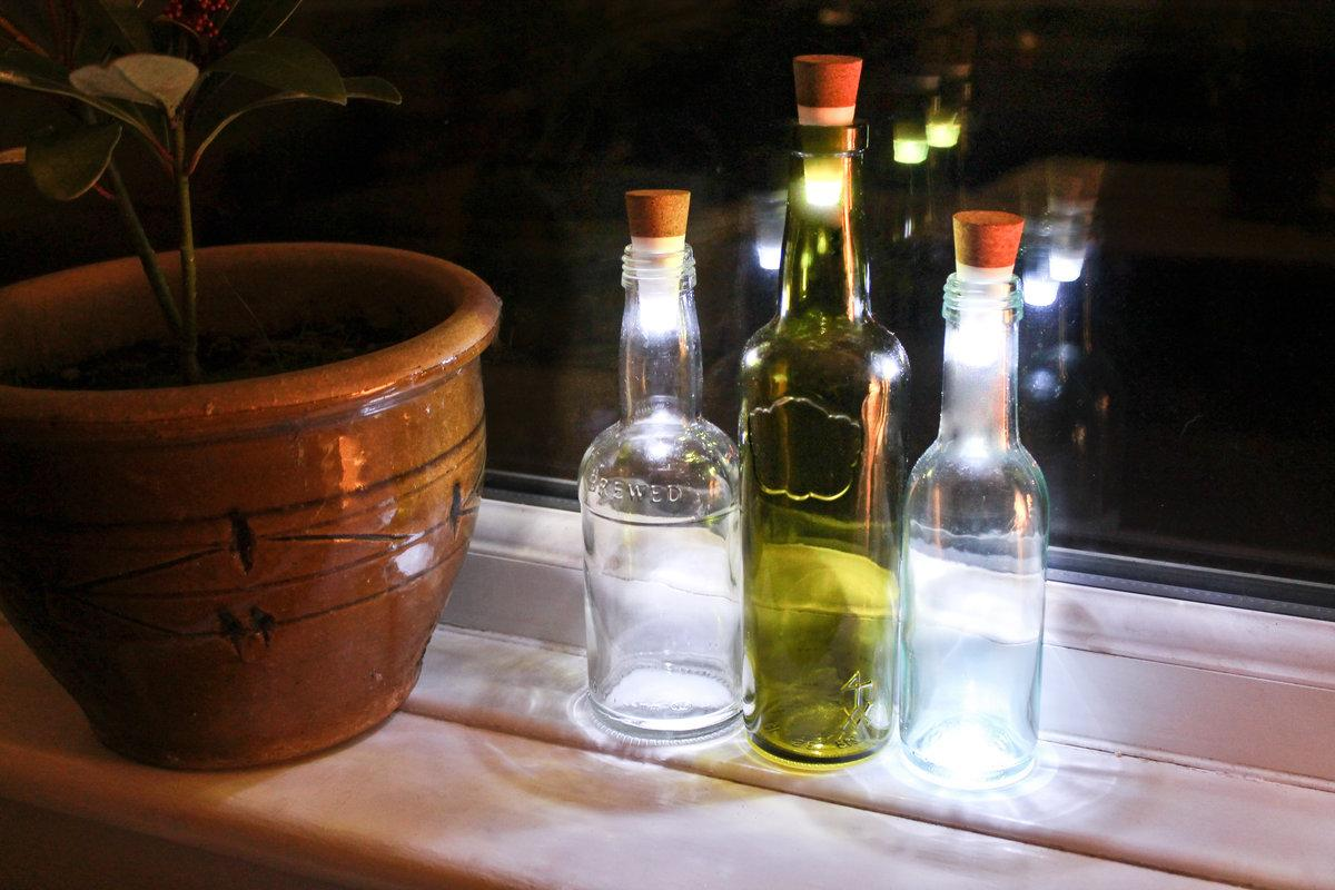 bottlelight-festooned wine bottles, helping to class things up a little