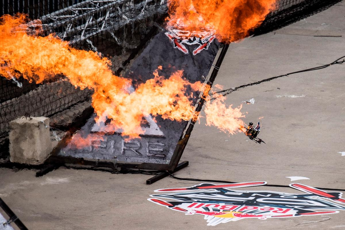 The racing drones hit speeds of up to 150 km/h (93 mph) throughout Red Bull's inaugural drone racing event and had to contend with flames, waterfalls and blasts of air pressure