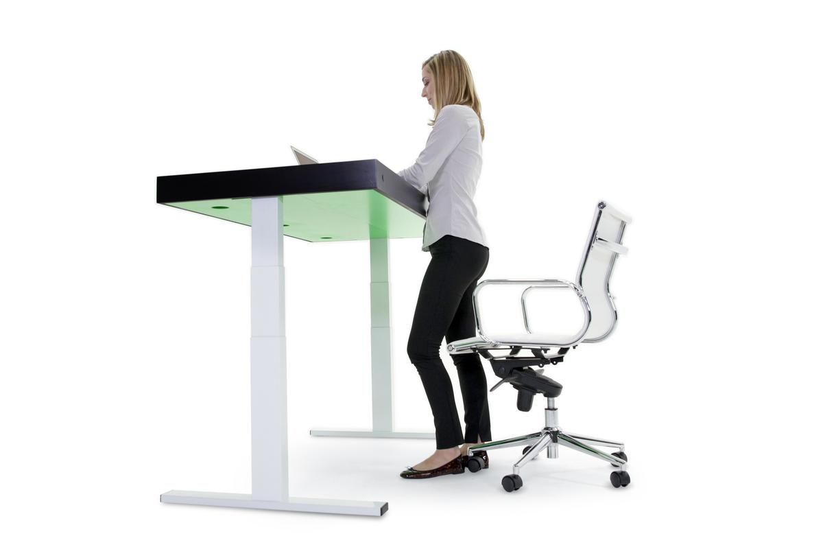Using a built-in processor and motorized legs, the Stir Kinetic Desk can quietly adjust its own height throughout the day
