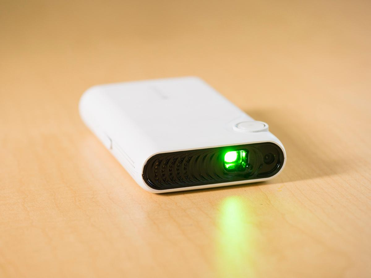 The TouchPico's 0.3-in DLP projector puts out at least 80 lumens