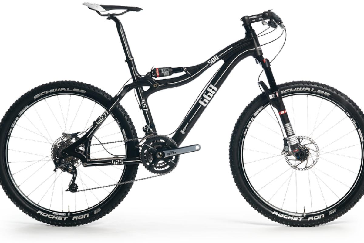 The Pronghorn mountain bike frame with APLS - the suspension unit is mounted on the top tube of the frame to help riders extract more energy from the chain