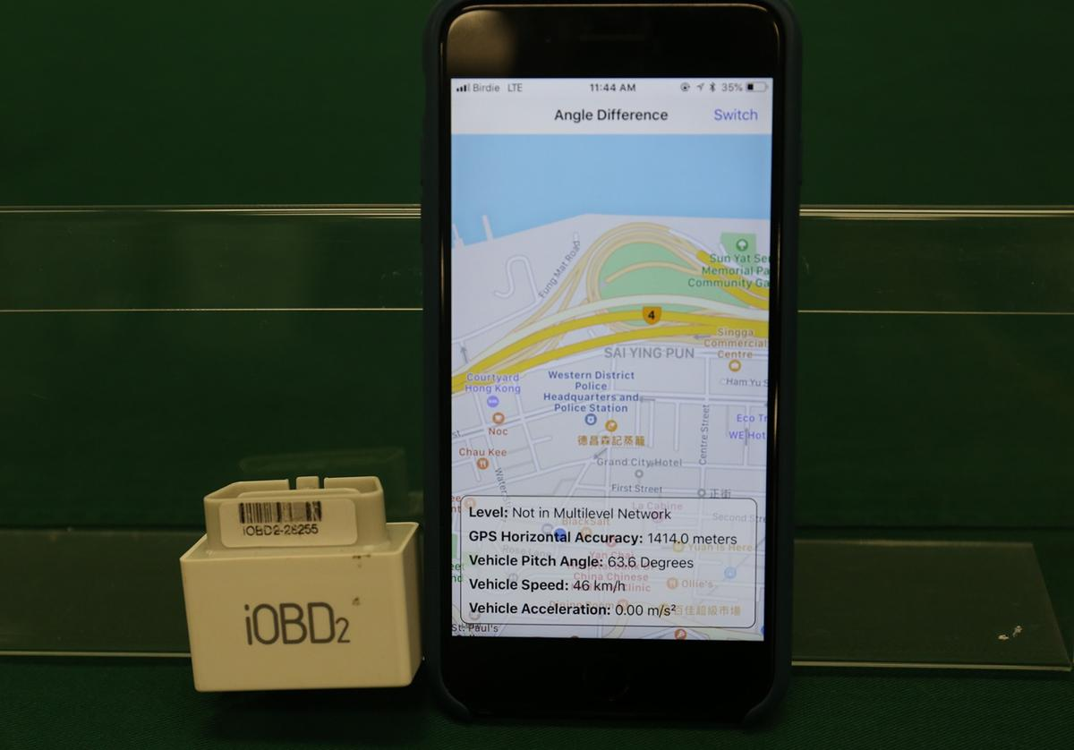 The Angle Difference Method utilizes an in-vehicle smartphone running a navigation app, which is linked by Bluetooth to the car's built-in or plug-in onboard diagnostic device