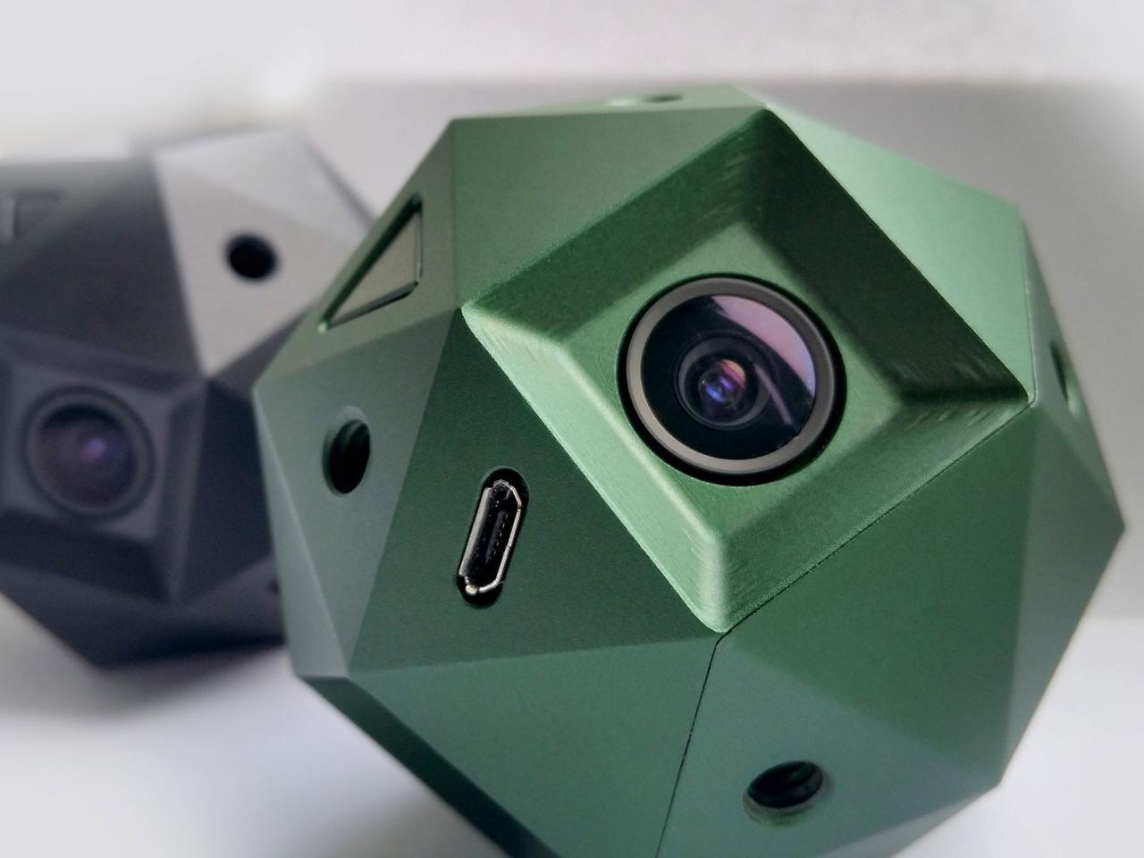 The Sphericam 2 weighs is 65 mm (2.6 in) in diameter, weighs under 400 g (14.1 oz) and houses six cameras inside an anodized aluminum body