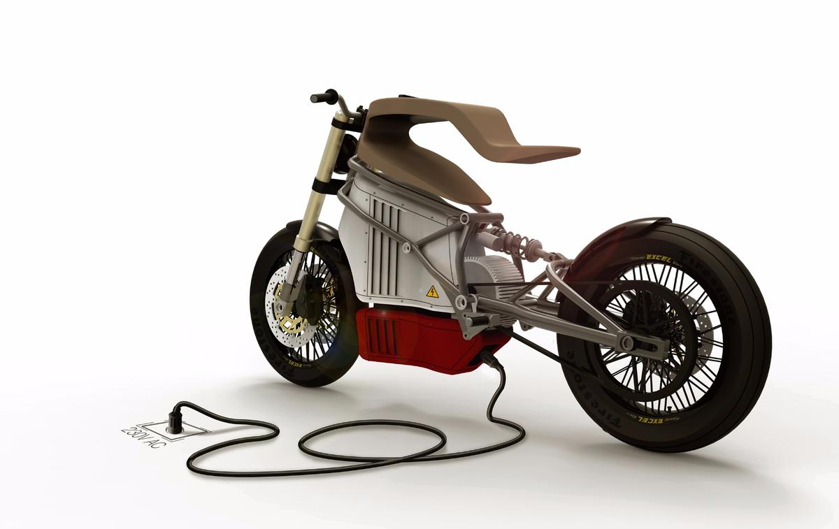 Martin Hulin's e-Raw electric motorcycle: CAD render shows awkward charging port under the bike