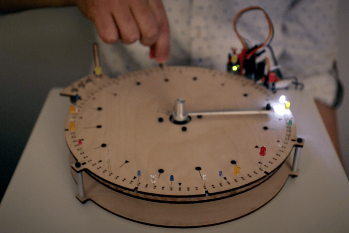 The sequence is set by popping in LEDs around the BlinkWheel's edge, and triggered when a rotating arm comes into contact with an LED's anode