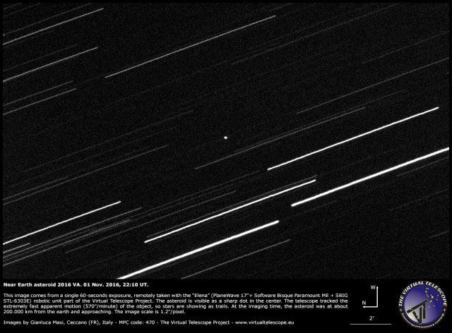Asteroid 2016 VA captured in a 60 second exposure