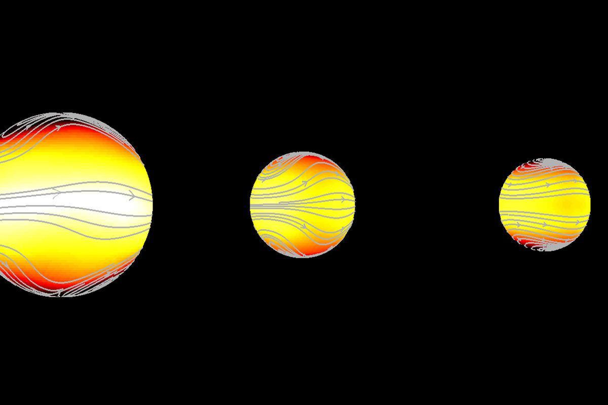 Of the three possible climate types for tidally locked exoplanets, the wind patterns and climate types pictured center and right are potentially habitable