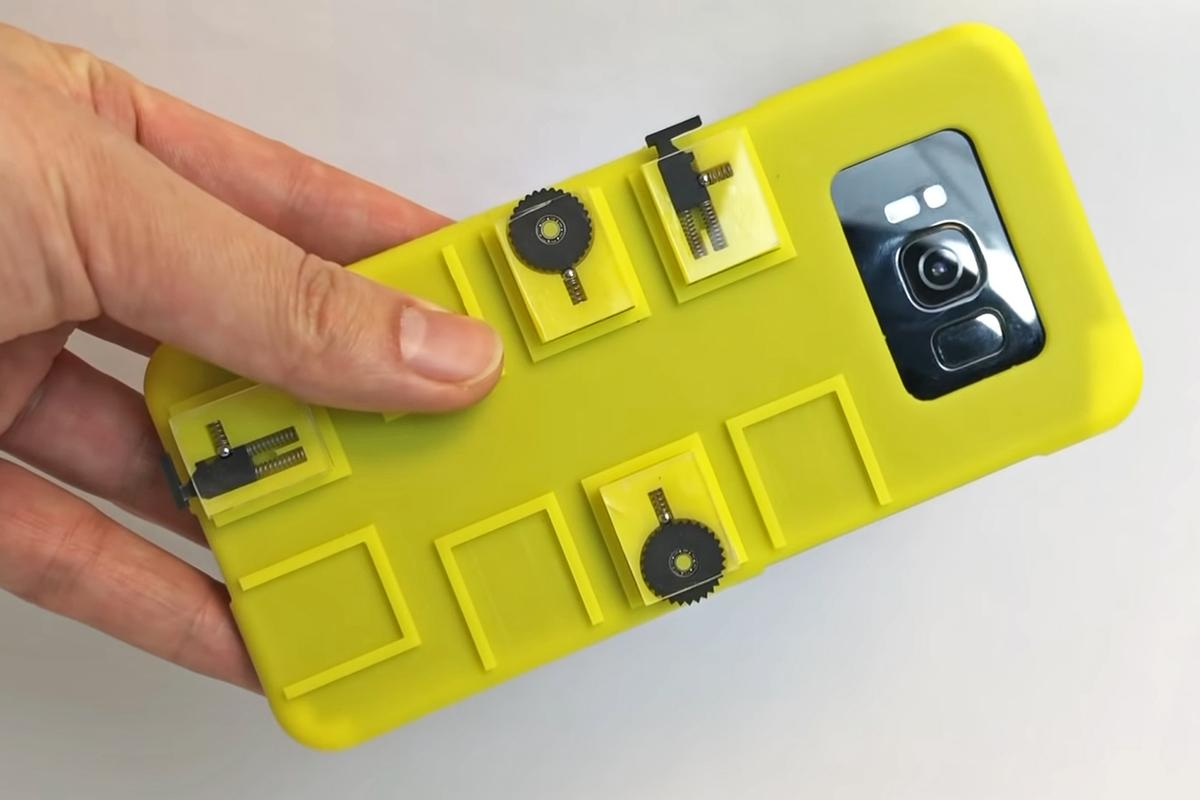 The vidgets case adds modular switches and buttons to a phone