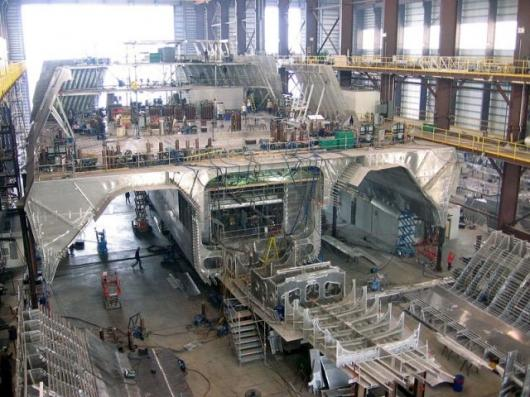 The first trimaran LCS under construction at Austal USA