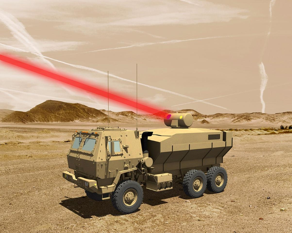 Rendering of a truck-mounted 60-kW laser weapon system for tactical U.S. Army vehicles