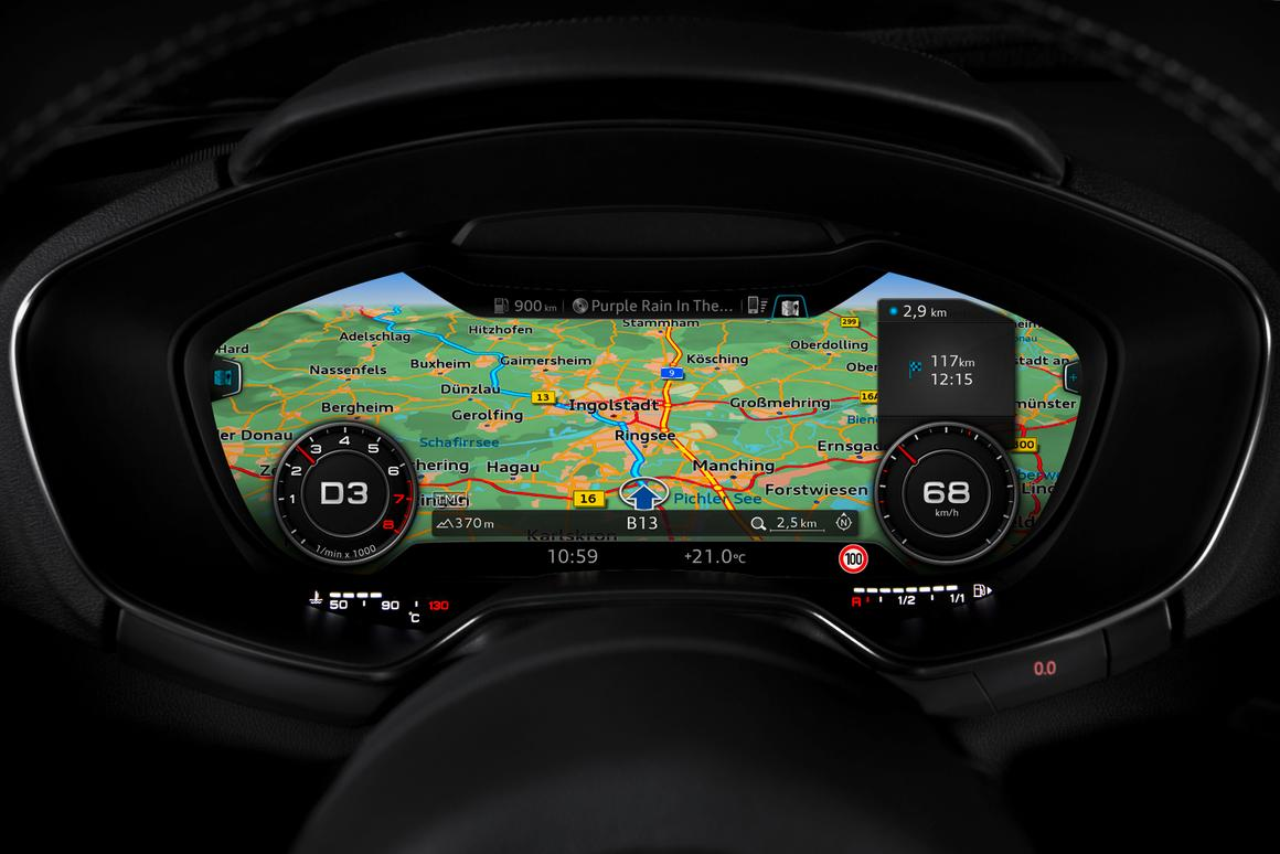 Navigation, audio, phone and car-info is all displayed on Audi's virtual cockpit
