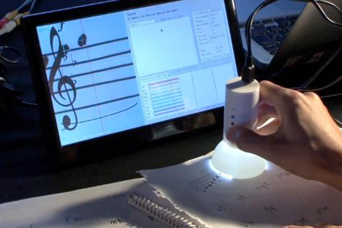 The Gocen is a prototype scanning device that can play hand-written sheet music in real time