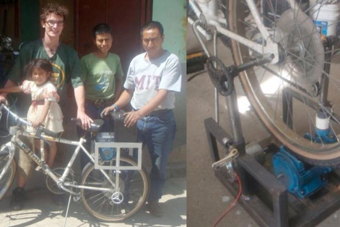 Jon Leary and friends, with his mobile bicycle-powered pump