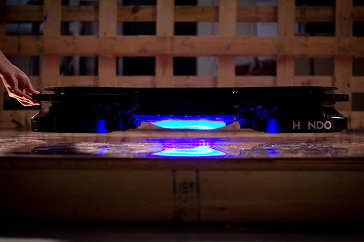 The Hendo Hover is capable of running an inch off the ground using s opposing magnetic forces between the board and a metal surface