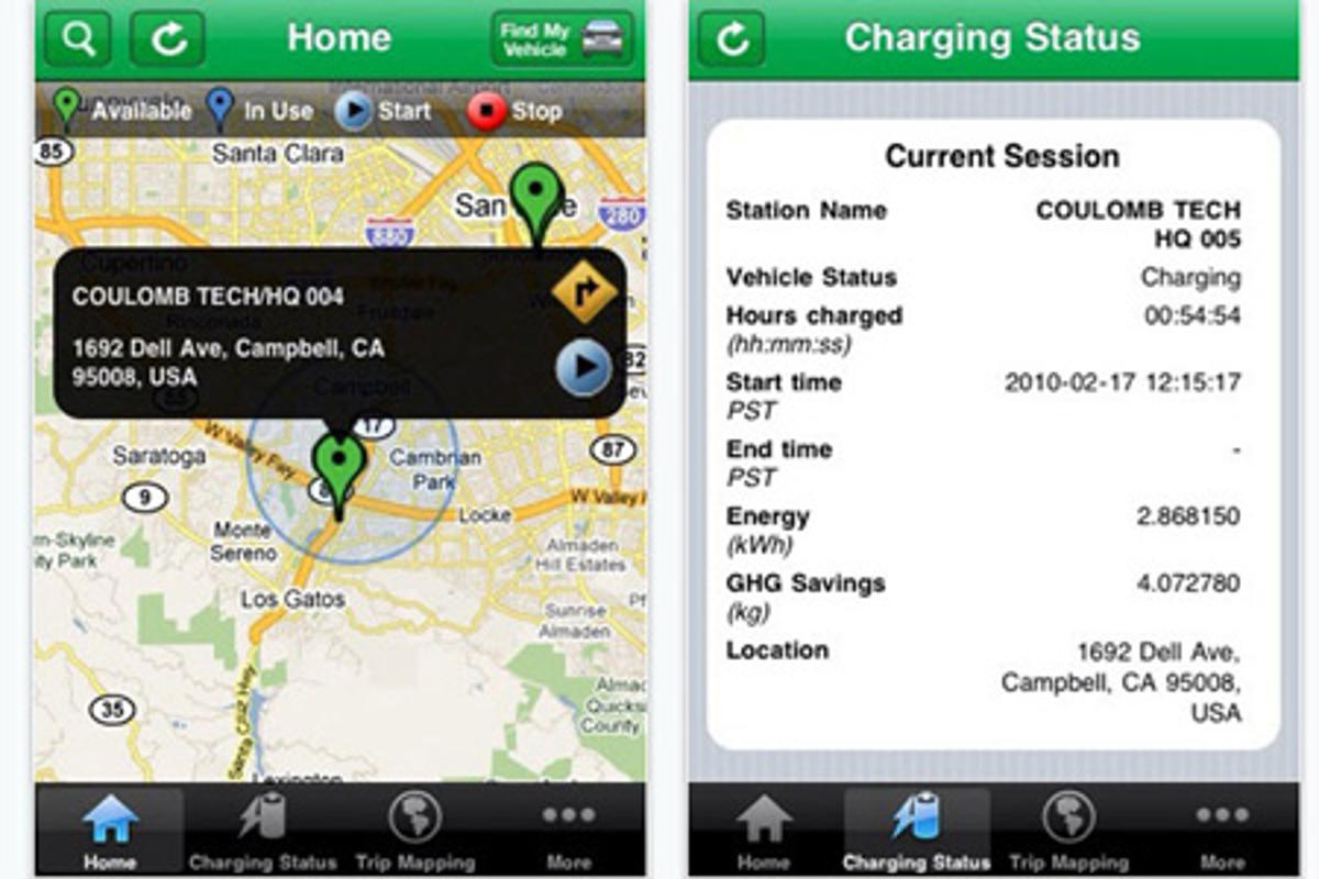 The ChargePoint iPhone app enables EV drivers to locate available charging stations.
