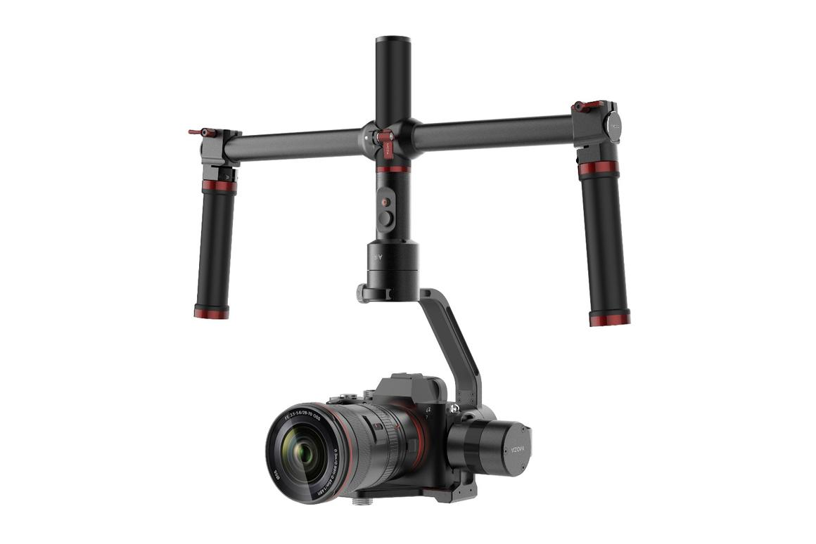 Moza Air gimbal stabilizer, in inverted mode with the twin handle attachment