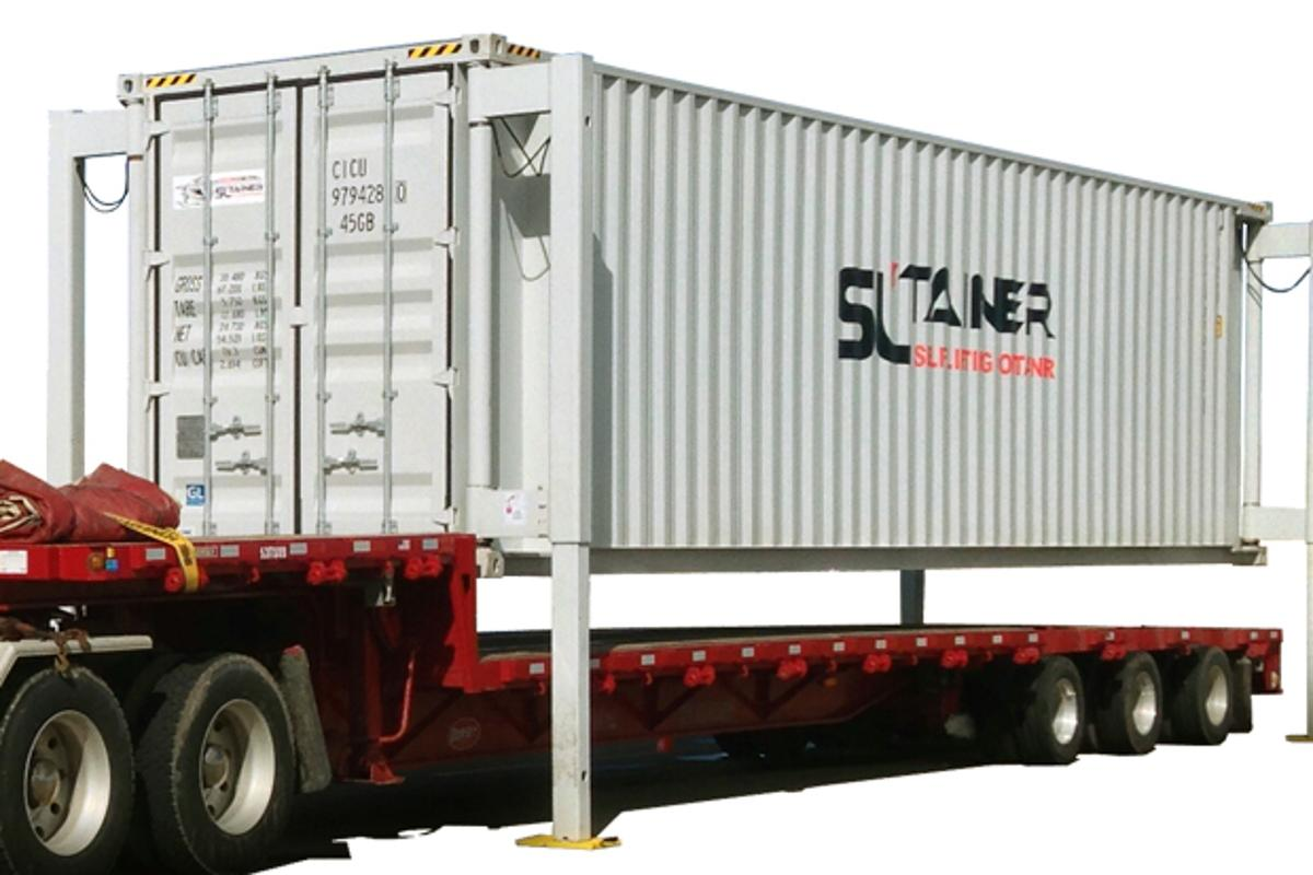 The SL-Tainer is a self-lifting container that does away with the need for a crane to load and unload it from a truck