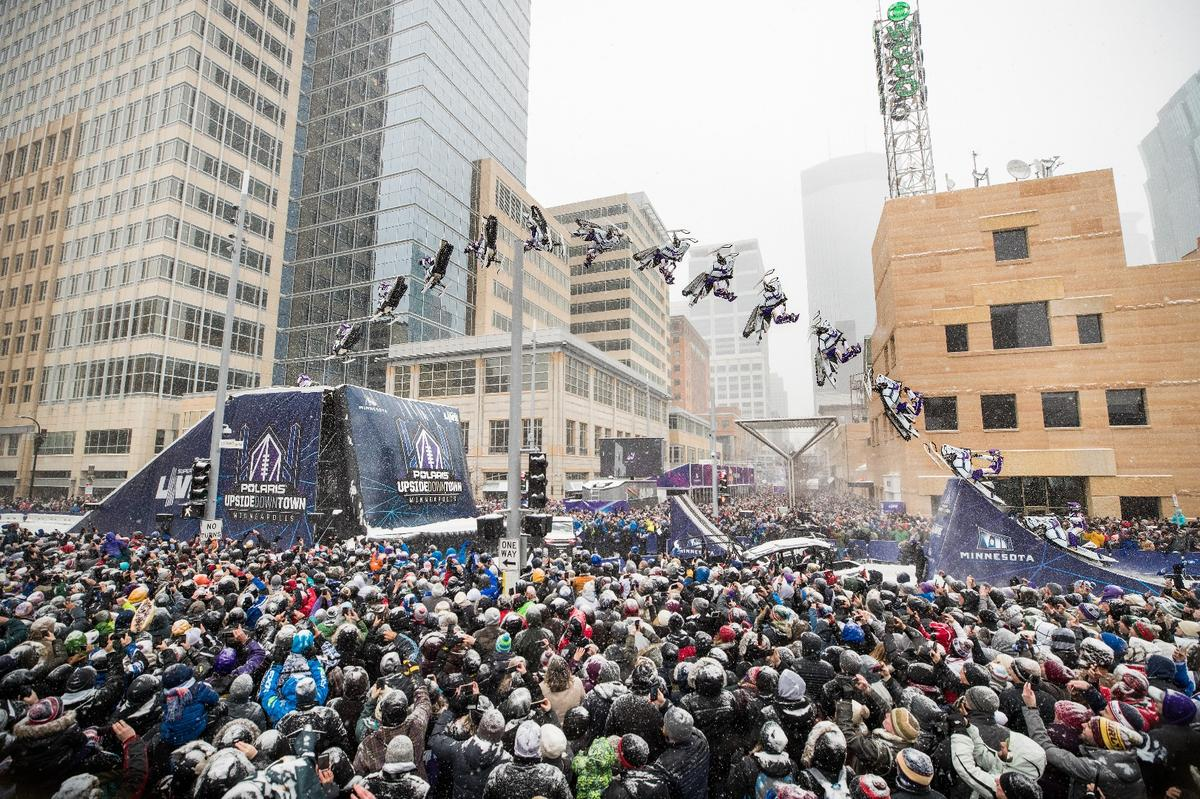 Levi LaVallee lands a five-story high, 100-foot long snowmobile backflip. What did you do with your Saturday?