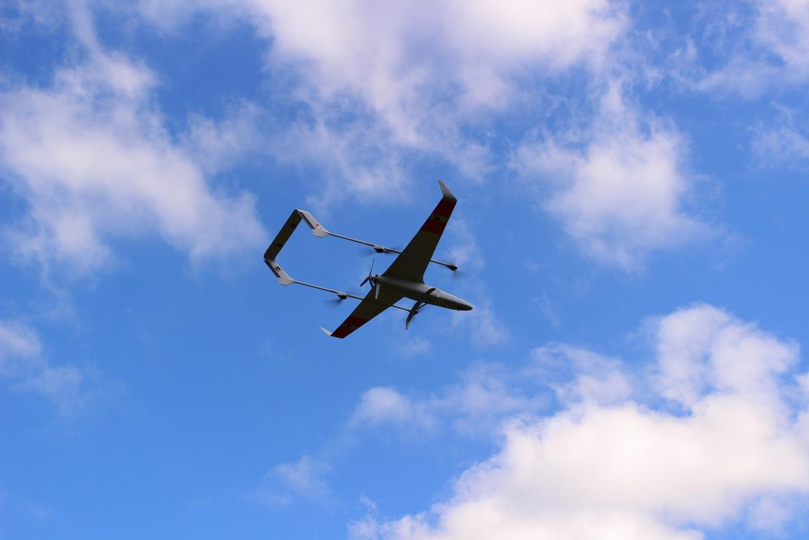 Hybrid VTOL fixed-wing drone flies for 2+ hours