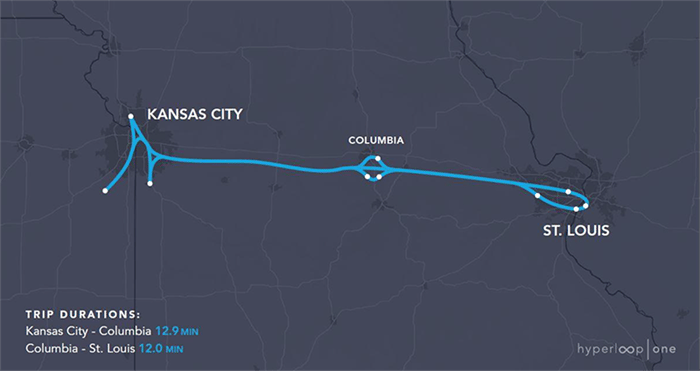The estimated trip time for a hyperloop across the state of Missouri comes in at 24.9 minutes