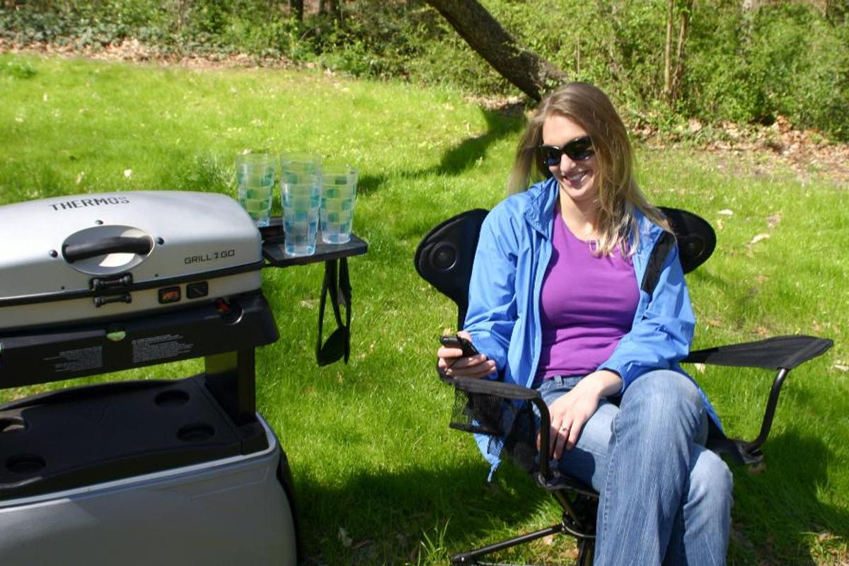 The Revolve chair adds a little movement and convenience to your campsite or tailgate