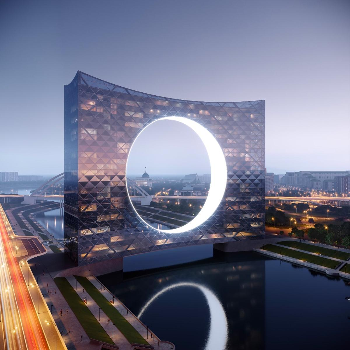 "The Tower of the Sun ""celebrates near net-zero energy requirements by using the power of water stream in the river underneath"""