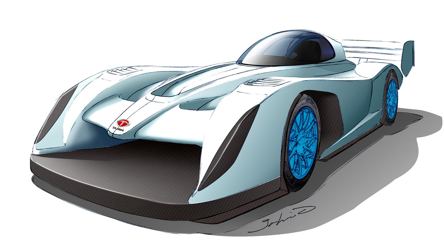 A sketch indicating what Monster Tajima's 2012 electric hill climb car may look like