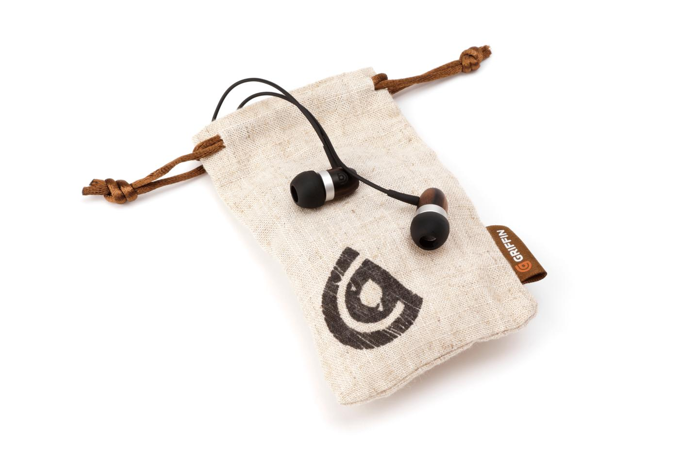 The WoodTones Earbuds are supplied with a drawstring carrying pouch made from natural hemp