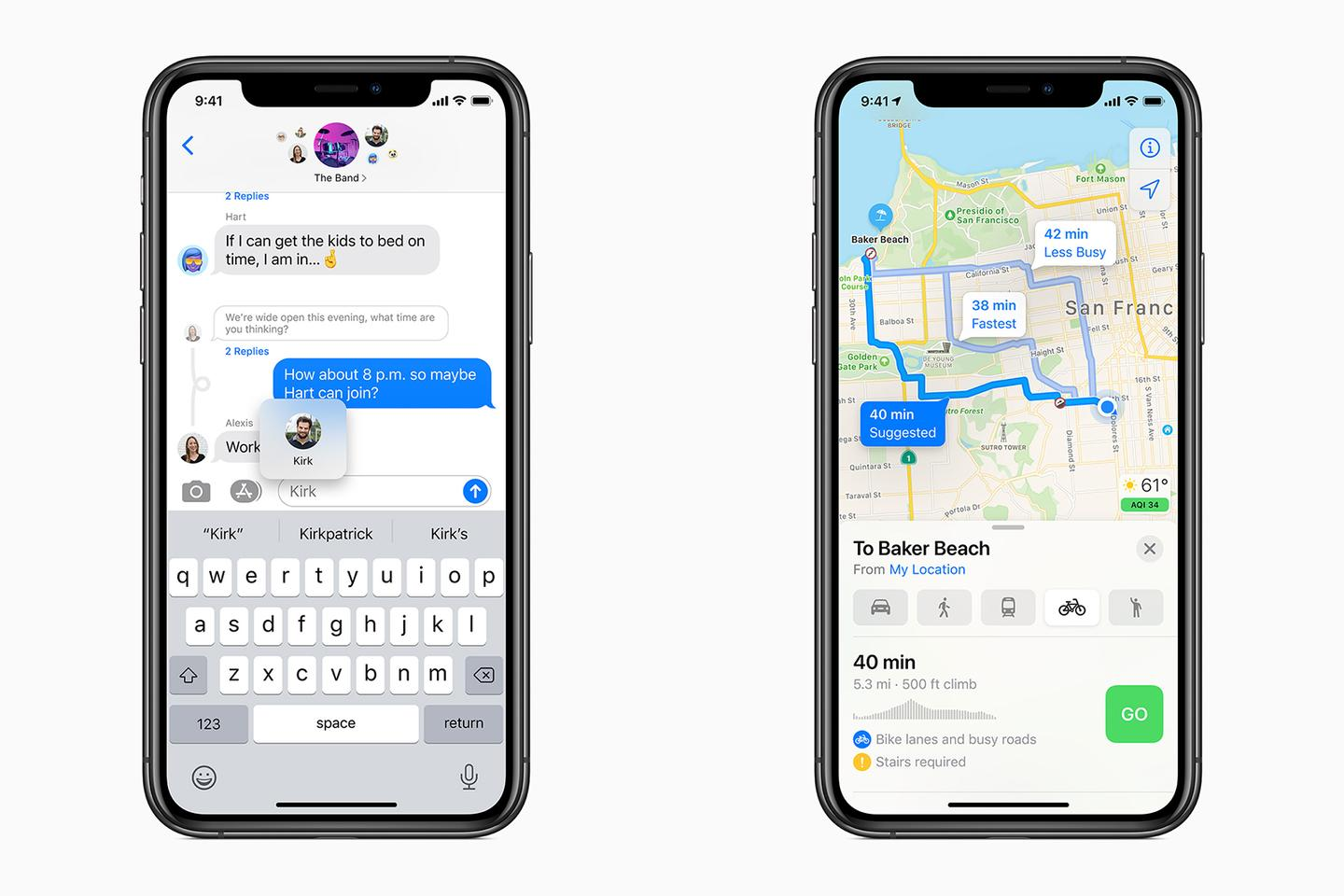In iOS 14, Messages will handle group conversations better, while Maps is adding cycling directions