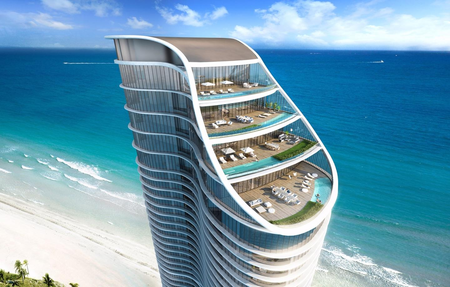 Penthouse residents at the Ritz-Carlton Residences in Sunny Isles Beach will be able to relax in their own pools