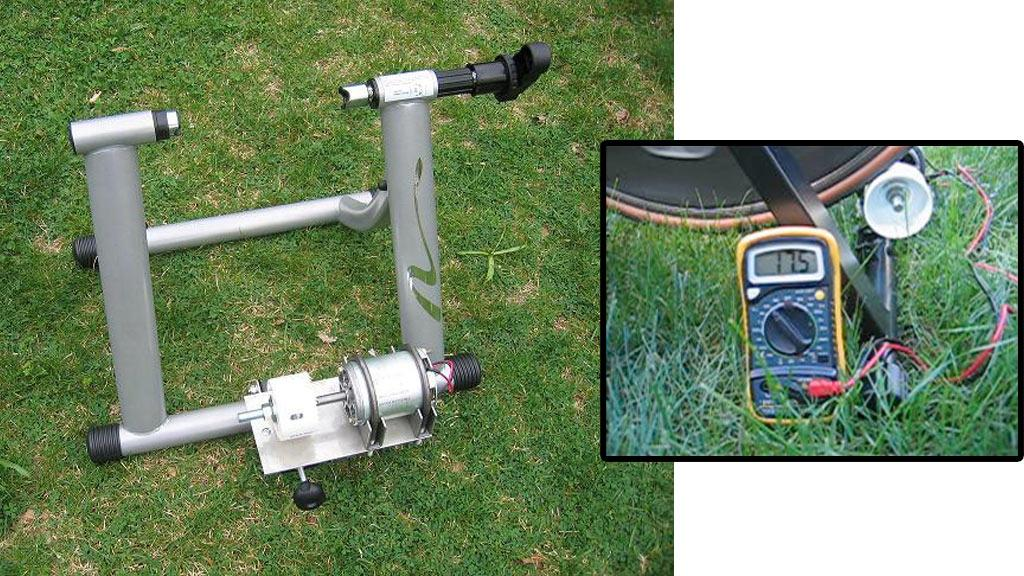 The Pedal-A-Watt and, inset, connected to a bike and voltmeter to show how much power is being generated