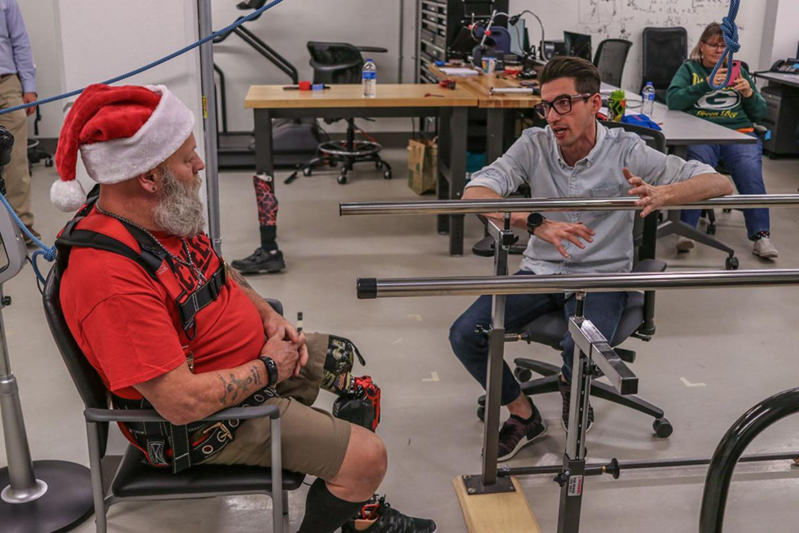 Tommaso Lenzi with amputee Kerry Finn, one of the early testers of the Utah Bionic Leg