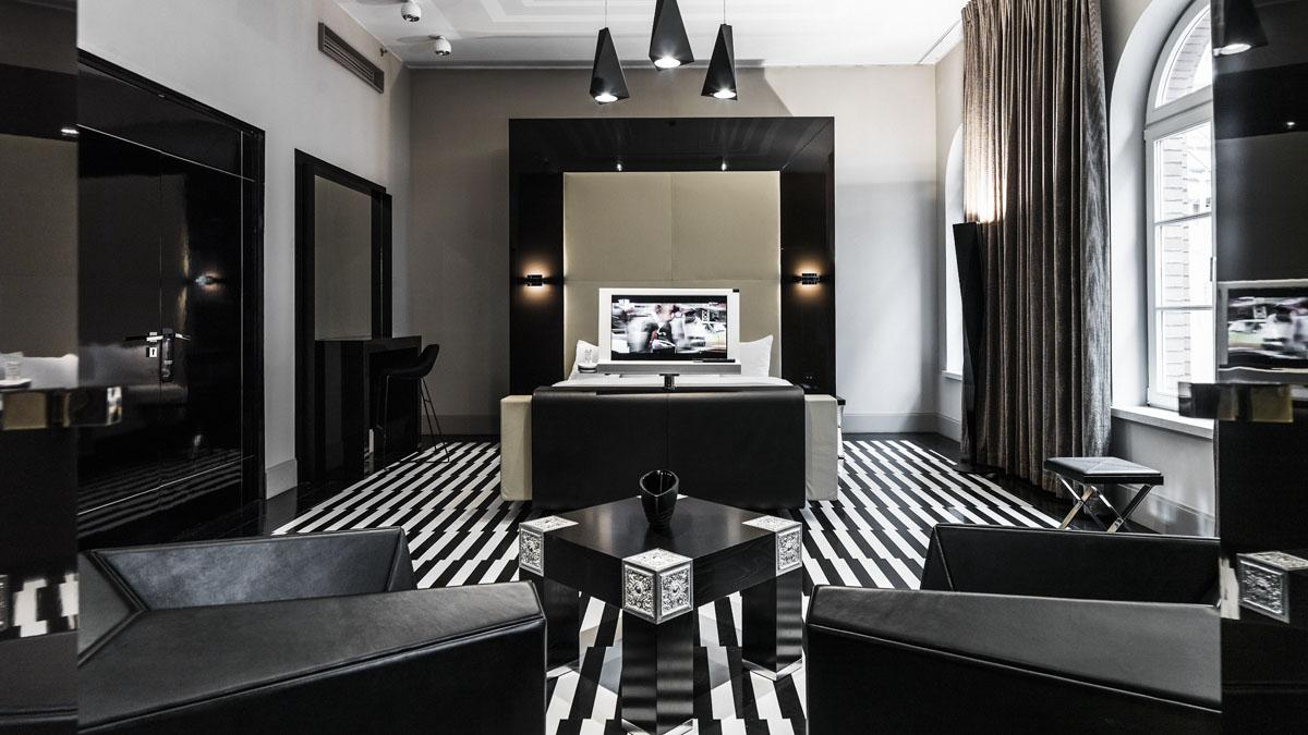 Black and white room interior (Image: Supplied)