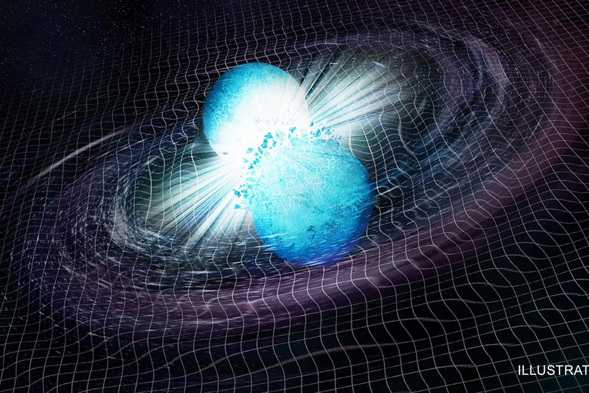 An artist's rendition of two neutron stars colliding,an event observed for the first time in August last year