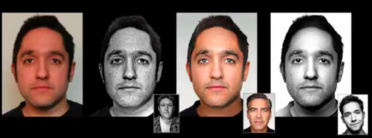 The team used off-the-shelf facial recognition software to find common features between the subject's face and the face in an example photograph, the characteristics of which they would try to replicate