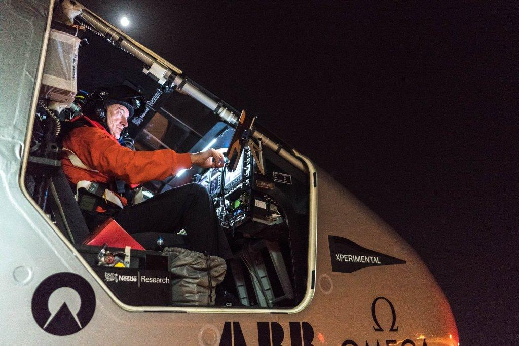 Pilot André Borschberg getting ready to begin the 10th leg of the Solar Impulse Round the World adventure