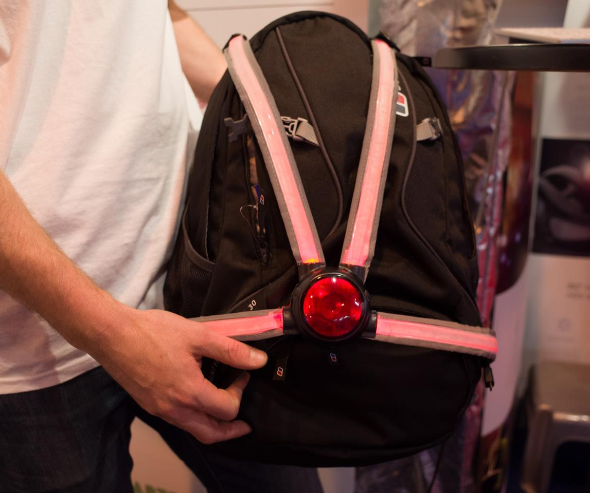 The Commuter X4 consists of a central LED light and four fiber optic light guide straps