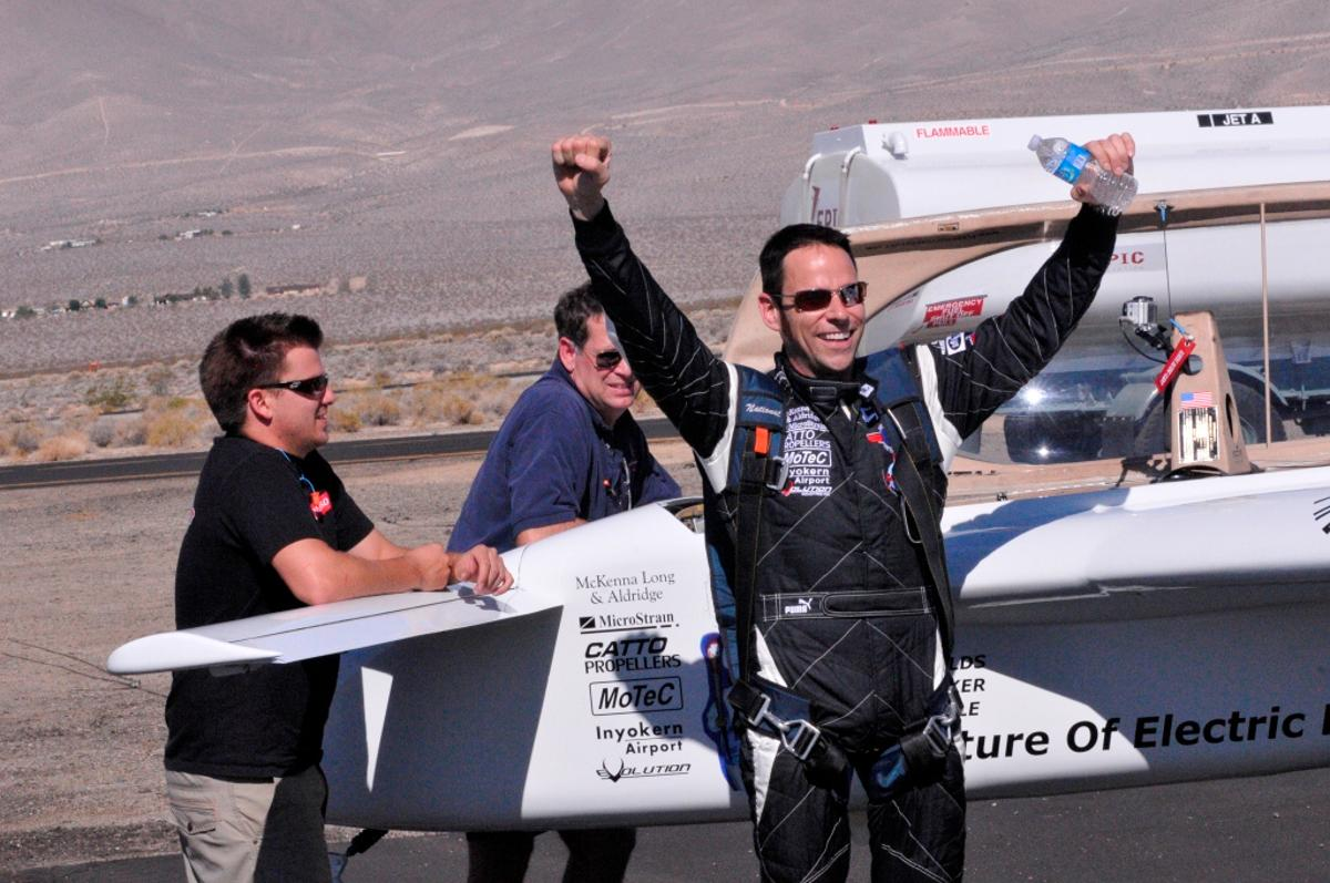 Chip Yates celebrates breaking the 200 mph barrier in his electric Long-ESA aircraft