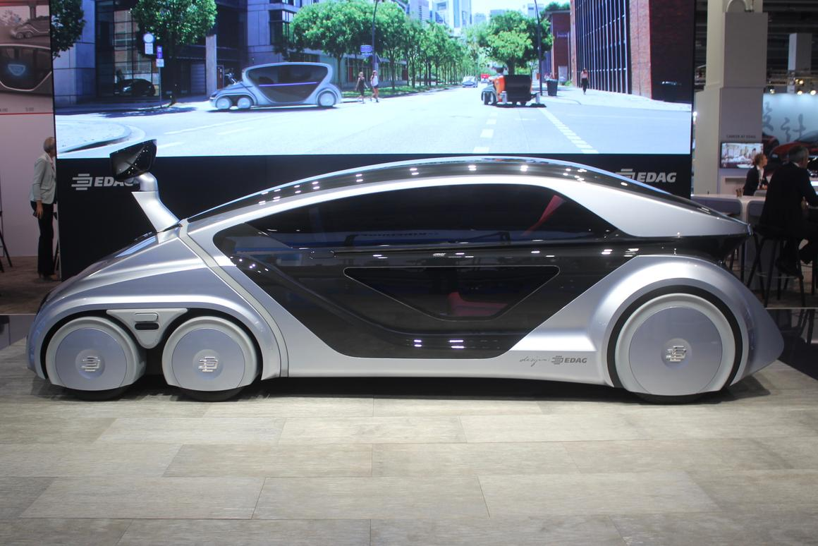 The EDAG robo car on display at the Frankfurt Motor Show