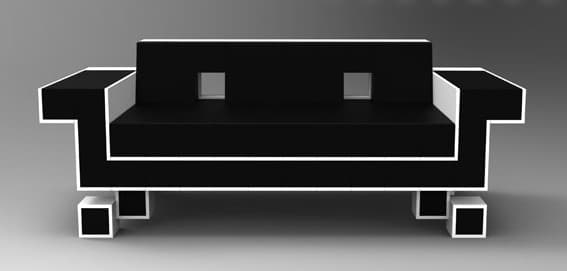 Retro Alien Couch design rendering from the front