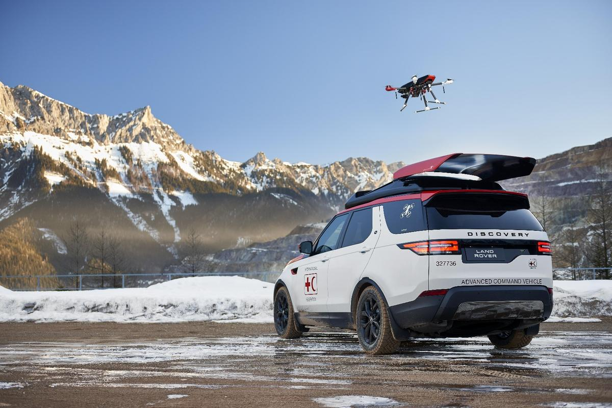 The Discovery's roof-launcheddrone has a range of 1 km (0.62 mi)