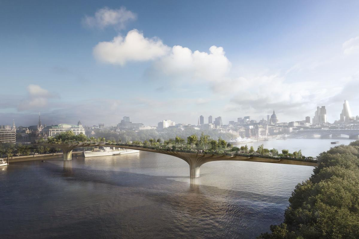 London's proposed Garden Bridge will cross the Thames between Temple Station and the South Bank (Photo: Arup)