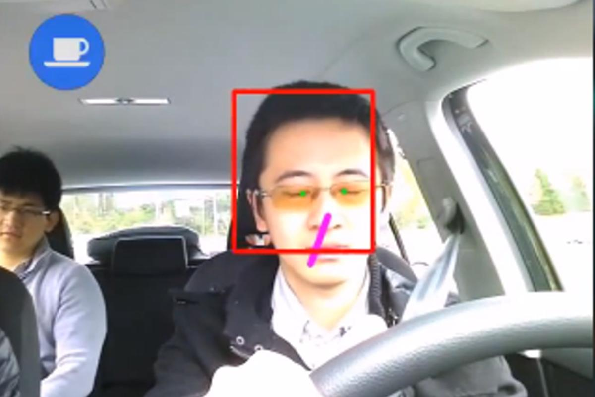 The front camera focuses on signals from the driver, such as head pose, eyes and blinking rate, which provides the data to infer drowsiness and distraction
