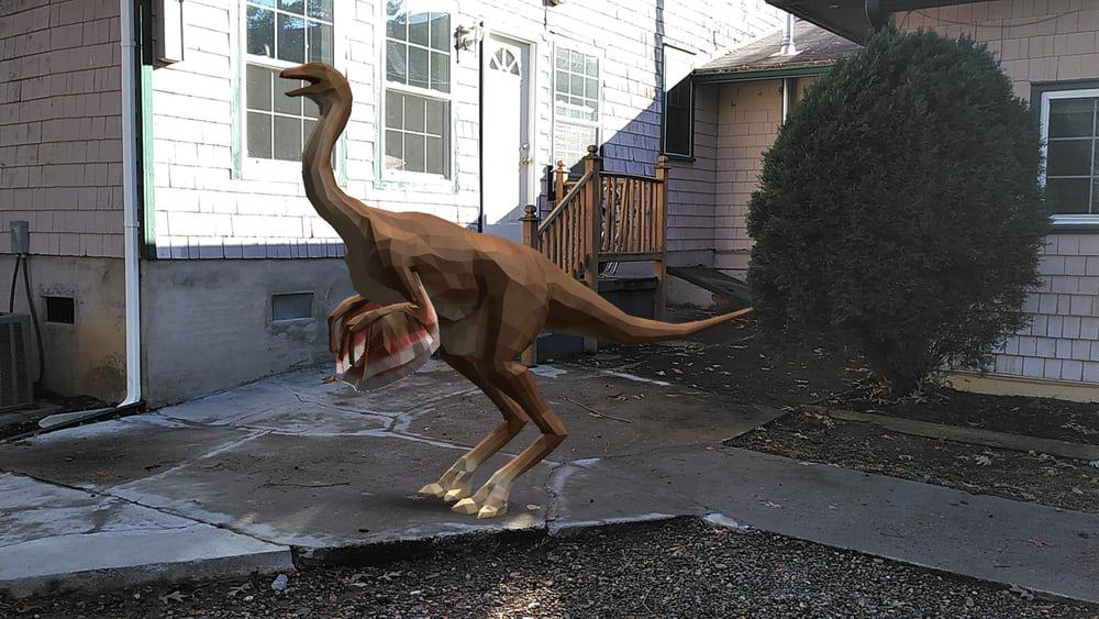 Screenshot from the American Museum of History's dinosaur-filled AR app on the Lenovo Phab 2 Pro