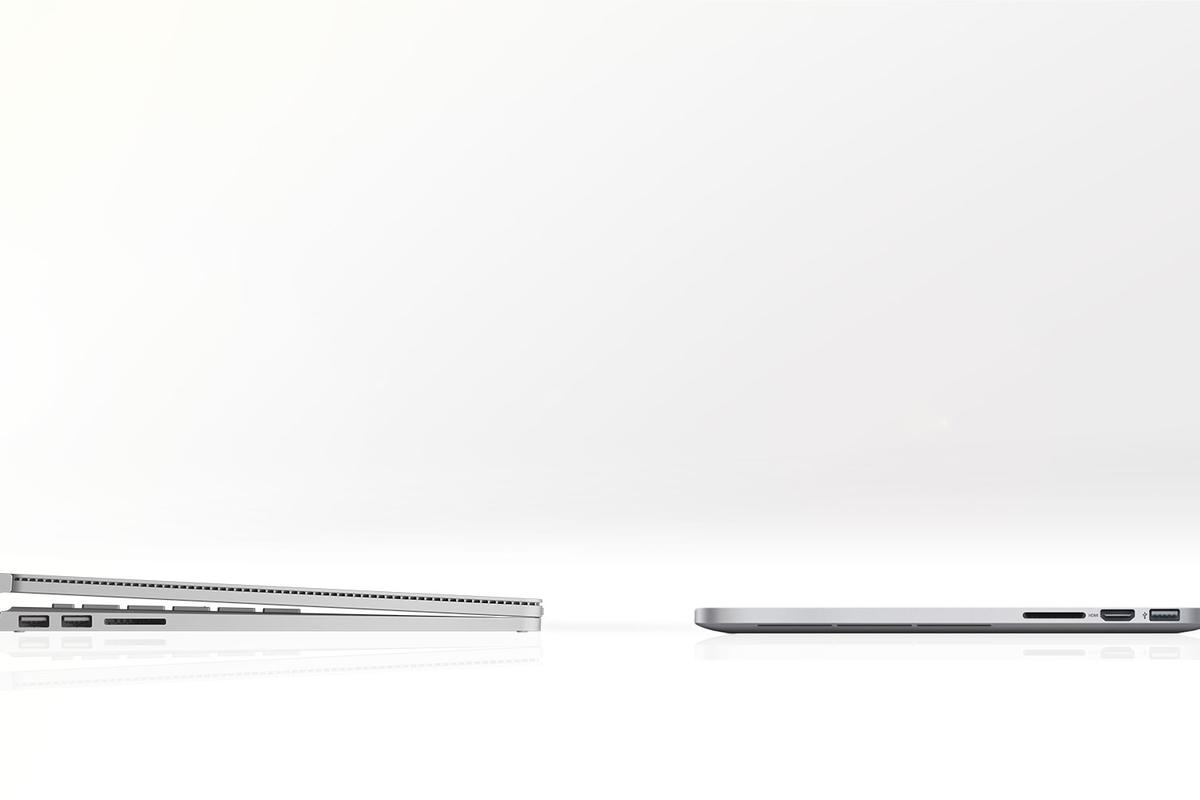 Gizmag compares the features and specs of the Surface Book (left) with the latest 13-inch MacBook Pro with Retina Display