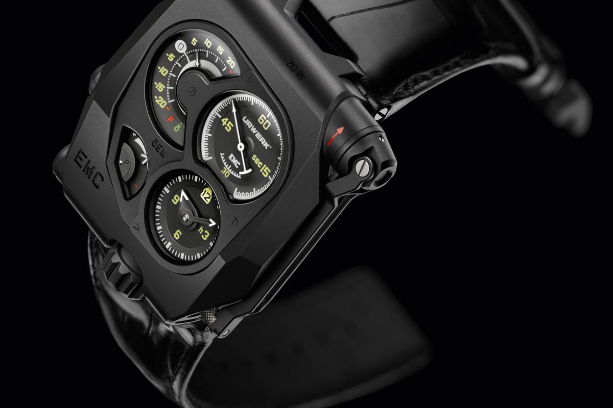 The Urwerk EMC uses mechanical and electronic systems to regulate its accuracy