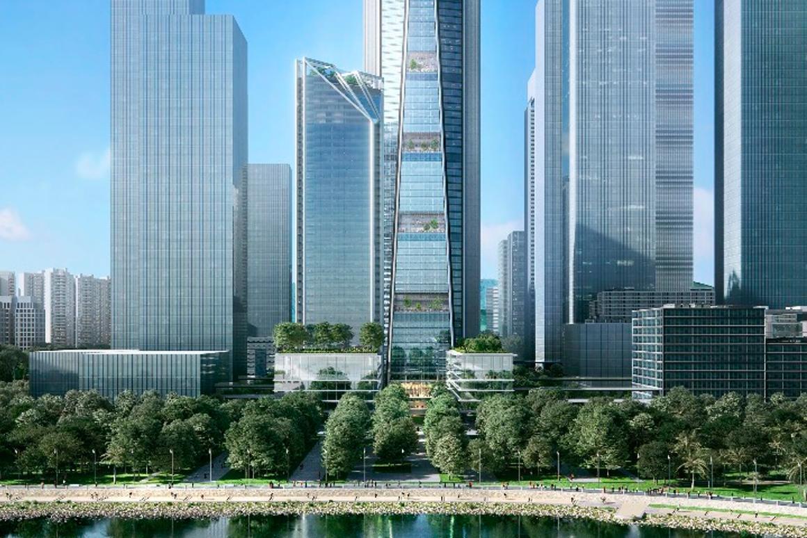 The tallestChina Merchants Bank HQtower will reach a height of 350 m (1,148 ft)
