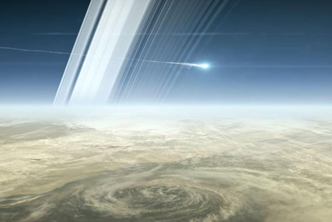 Artist's concept of Cassini burning up above Saturn