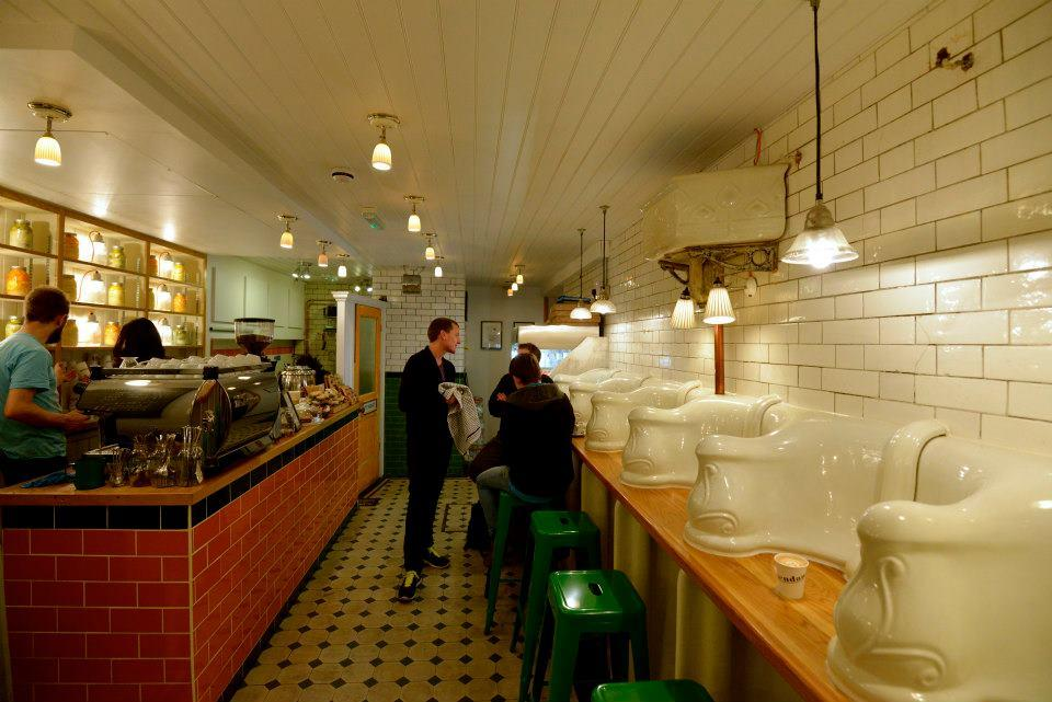 London residents Pete Tomlinson and Ben Russel have transformed an abandoned public toilet block in London into a cafe